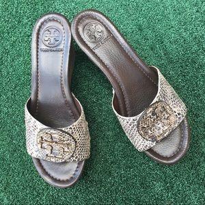 736d3d4c7 Tory Burch Patti Pitone Rocha Snakeskin Sandals 7